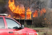 When local volunteer Fire Departments arrived on the scene the house in Taghum was completely engulfed in flames.  Bruce Fuhr photo